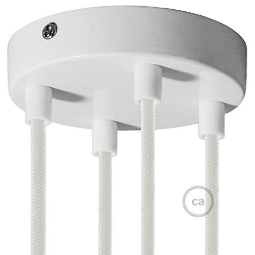 creative cables Zylindrischer 4-Loch-Lampenbaldachin Kit aus Metall - Zylindrisch, Glänzend weiß