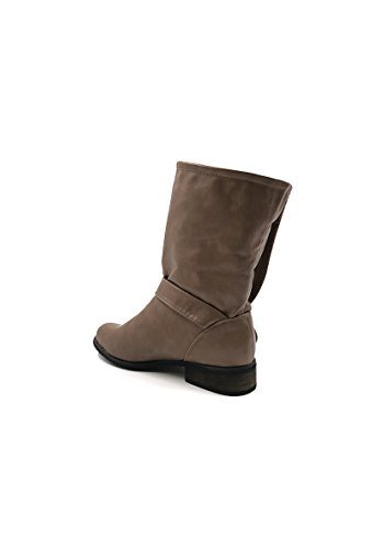 CHIC NANA . Chaussure femme bottine style motard en similicuir. Taupe