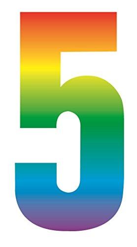 Hohe sichtbar Rainbow Mülltonne Selbstklebend Zahlen Aufkleber für Cafe Hotels Geschäften Büro Mülltonnen Nummer 5