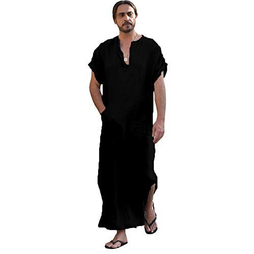Vestidos de Fiesta Largos de Noche Vestidos de Fiesta Hombres TúNicas éTnicas Suelta de Rayas de Manga Corta Vestido Delgado de La Vendimia Kaftan