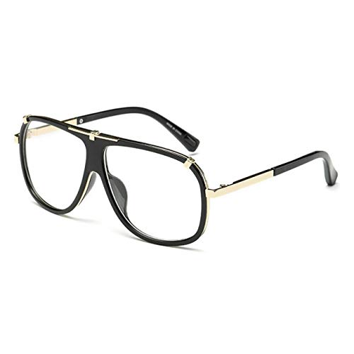 DEFG&FAD Men Square Sonnenbrille Fashion Women Gradient Lens Brille, schwarz klar