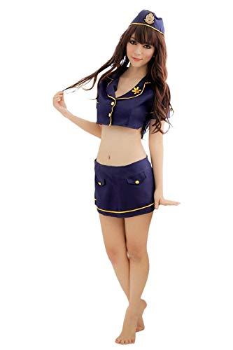 Targogo Damen Wärmen Sche Bezaubernde Uniformen Polizei Mädchen Set Rollenspiel Stewardess Kleidung Ds Performance Bekleidung (Color : Blau, Size : One Size)