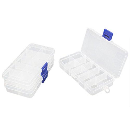 sourcingmap Boîte de Pilule Boîte de Rangement en Plastique Transparent Blanc 10 Compartiments pour Pilules 3 Pièces