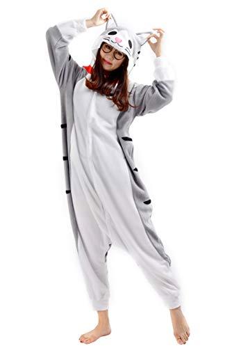 Jumpsuit Kostüm Katze - SAMGU Tier Onesie Pyjama Cosplay Kostüme Schlafanzug Erwachsene Unisex Animal Tieroutfit tierkostüme Jumpsuit Käse Katze(Größe S)