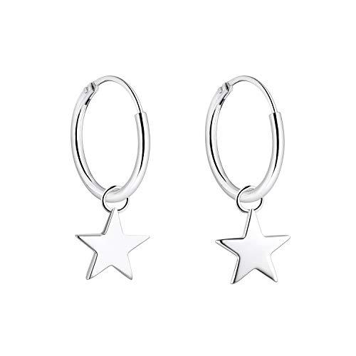 YL Orecchini a cerchio con stella, 925 orecchini pendenti in argento sterling da 15 mm per donne e ragazze