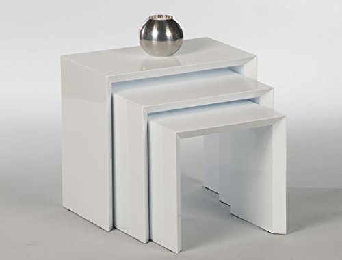 3er Set Beistelltisch Treviso 16815 Anstelltische Telefontische Weiߟ Hochglanz (Konsole Spiegel Set Tisch)