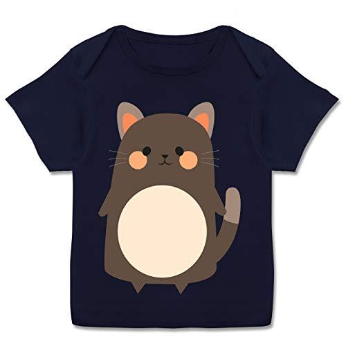 Karneval und Fasching Baby - Fasching Kostüm Katze - 80-86 (18 Monate) - Navy Blau - E110B - Kurzarm Baby-Shirt für Jungen und Mädchen (Katze Kostüm 18 Monat Alt)
