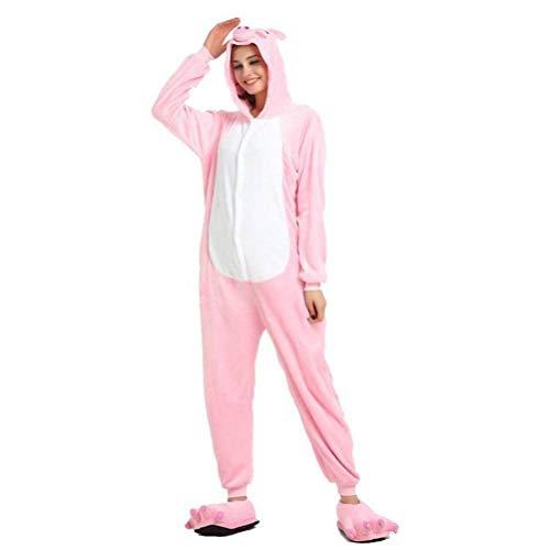 Unisex Pyjamas Erwachsene Tier Onesies Flanell Tier Cartoon Einteilige Pyjamas Frauen 's Performance Kleidung Herbst und Winter zu Hause Kleidung, Golden_flower, Pulver Schwein, (Kostüm Frauen Zu Hause)