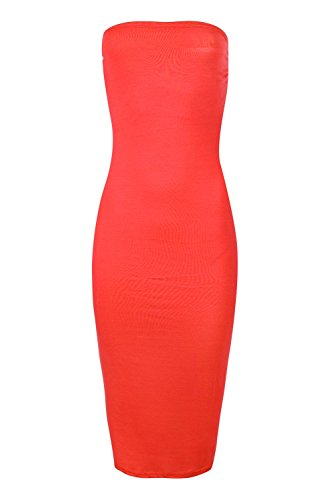 Damen Bandeue Trägerlos Midi Trikot Bodycon Kleid Übergrößen Rot