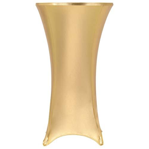 mewmewcat 2 Stück Stretch-Tischdecken Husse für Stehtisch Stehtischhussen Tisch-Überzug Tischhusse Golden 70 cm