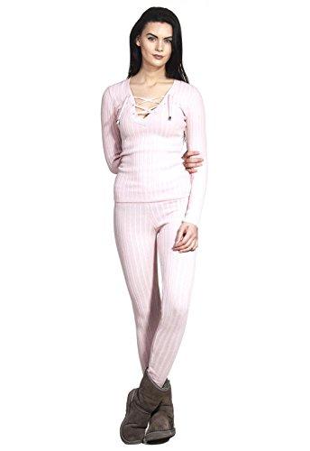 Pyjama Jumpsuit Homewear Hausanzug Jogger Rip Strickware mit V-Ausschnitt Oberteil Hose Set Schnüre Strick Cords Neck Zweiteiler Rosa M/L
