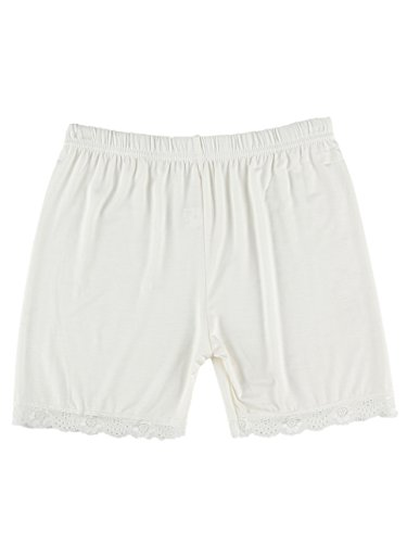 Bike-shorts-leggings (Liang Rou Damen Elasthan kurz Leggings mit Spitzenbesatz Farbe Weiß XXL)