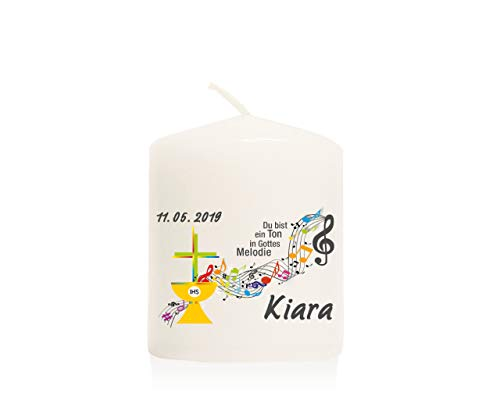 ve-Away-Kerze modern für Junge/Mädchen zur Kommunion, Größe 60/50 mm personalisiert mit Name und Datum (im 10er-Set) GAK15 ()