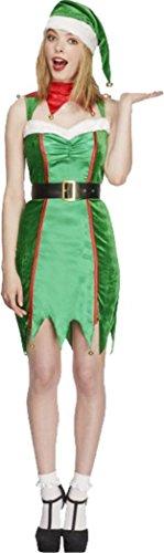 Frauen Sexy Fever Naughty Elf Kostüm Damen Weihnachten Kleid Fancy Party Outfit Gr. UK Kleid 36, grün
