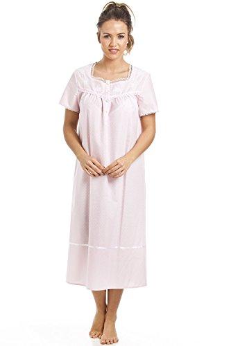 Camille - Chemise de nuit à manches courtes - style classique - rose à pois blancs Rose