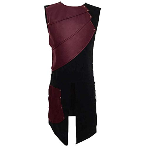 Herren Damen Mittelalterlich Weste Leder Patchwork Schnürung Ärmellos Halloween Piraten Cosplay Kostüm Steampunk Viktorianisch Vest Für Karneval Fasching Party Oktoberfest Business Freizeit