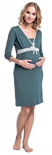Happy Mama. Damen Umstands-Nachthemd mit Stillfunktion. Stillshirt 3/4-Arm. 255p Grün Grau