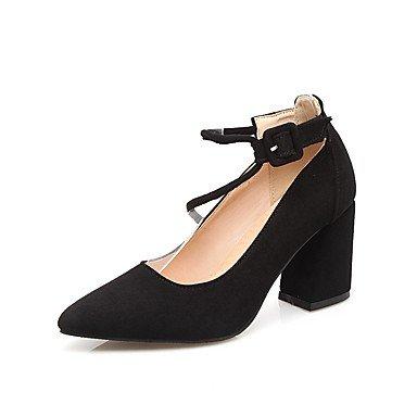 Sanmulyh Chaussures Femmes Similicuir Printemps Pompe De Base Confort Chunky Talons Talon Toe Booties / Bowknot Cheville Bottes Pour Bureau Et Noir