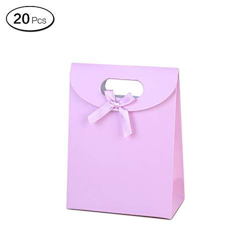 LEEQ 20pcs Candy Color Bolsas de Regalo con Asas con Lazo Bolsa de Craft Gamuza de para Galletas Joyas(Violeta )