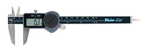 TESA TWIN-CAL IP40 - Calibre eléctrico estándar (rango de medición: 0-150 mm, con rodillo de ajuste, salida de datos y barra de profundidad redonda)