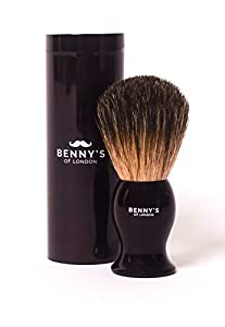 SHAVING BRUSH - with Travel Case - 100% Badger Shaving Brush - BRAND NEW from Benny's of London with Hard Travel Case - Men's Gift Idea - Creates the BEST Shaving Cream Lather - Must Have Present for Men's Grooming Set