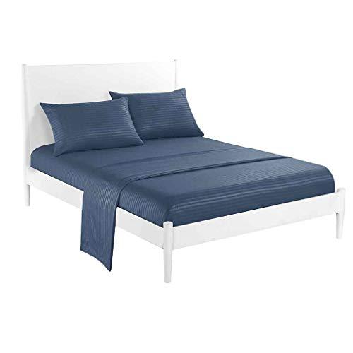 Chunyang 3/4 Stück Streifen Bettwäsche Satin Weave Bettlaken Set Pillowcase Spannbettuch Toal Bettdecke Kit Startseite Bettwäsche (Streifen-bett-satz)
