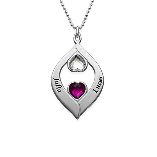 Asd jewerly personalizzato su collana nome inciso collana con pietre zodiacali romantico regalo per lei e 18ct rosa oro, colore: rose-gold, cod. nk991
