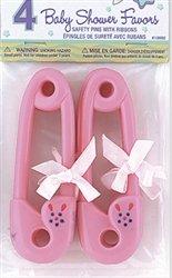 Einzigartiges Baby Dusche für Pink Sicherheit Pins mit Bänder-4Stück