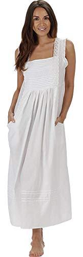 The 1 for U 100% Cotton Nachthemd mit Taschen Damen Viktorianisches Stil Rebecca - Weiß, XXL
