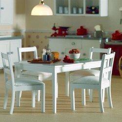 Tabella casa bambole + 4 sedie bianche dollhouse 3665