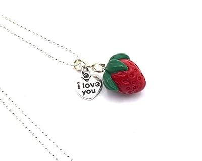 Collier Pendentif fraise printemps en argile de polymère, collier fruit rouge et sa chaîne boules, bijoux femmes, bijoux enfants