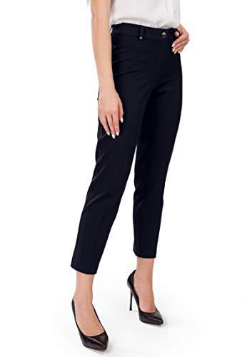 3 Tasche Blazer (FEMME Premium dunkelblaue Damen-Hose Perfekt für Herbst Winter Frühling Büro und Freizeit passt zu Bluse klassischen Hemden und Blazer 7/8-Länge - DE 36К - S - (W29))