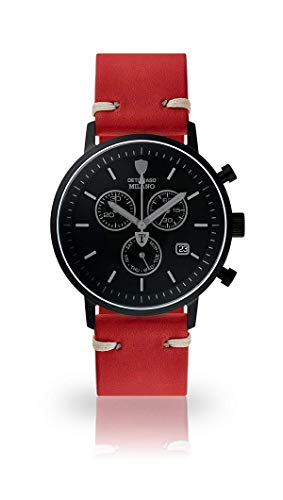 DETOMASO Milano Men's Wristwatch Chronograph Analogue Quartz Dark red Vintage Leather Strap Black dial DT1052-P-783