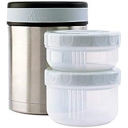 Laken Boîte alimentaire isolante en acier inoxydable 1 Litre + 2 conteneurs PP, Plain
