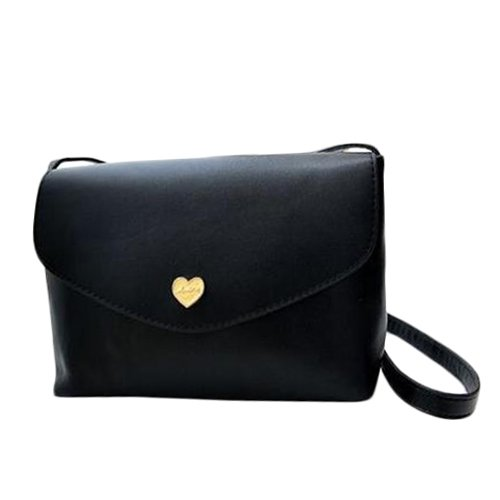 I8Q Donne cuore della pesca Borse Borse Small Luxury Leather Shoulder Messenger Bags nero