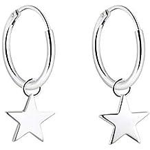 f0c14ad23b570c YL Orecchini a cerchio stella/croce/luna, orecchini in argento sterling 925  placcato