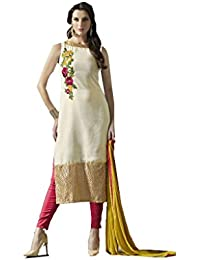 Cream Cotton Embroidered Dress Material