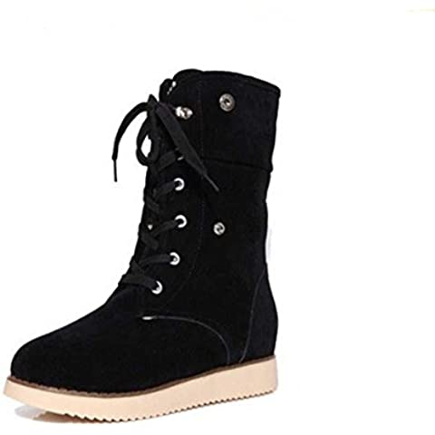 SHIXR La se?ora espesar peelings para oto?o/invierno invierno c¨¢lido botas deslizar el lazo Martin botas , black , 39