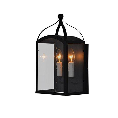 Wandleuchte Wachs Kerze (JUIANG Nordic Kreative Persönlichkeit Gang Lampe Nachttischlampe Schlafzimmer Wohnzimmer Doppelkopf Eisen Wachs Kerze Wandleuchte E14)
