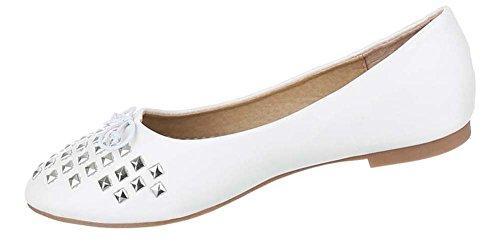 Miúdos Dos Sapatos Brancos Rebites Baixos Sapatas Bailarinas Das Com 6z5dnqwB