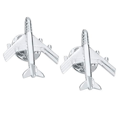 IPOTCH 2 Stücke Silber Flugzeug Brosche Pins Flugzeug Broschen Anstecknadeln Abzeichen Frauen Mädchen Kinder Kleidung Tasche Decor