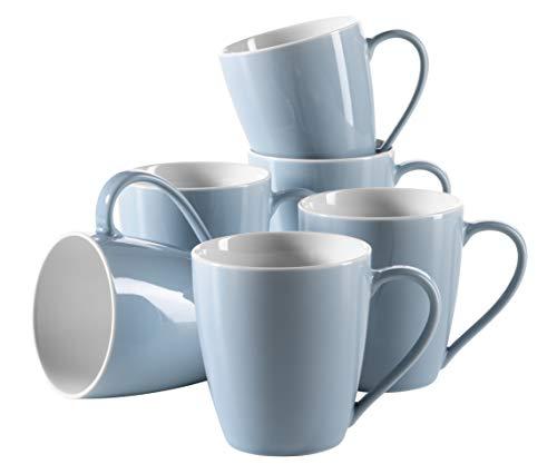 Mäser, Serie Kitchen Time, Kaffeebecher 36,5 cl, Porzellan Geschirr in der Farbe Blau, Set für 6...