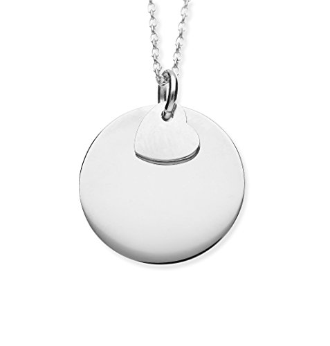 URBANHELDEN - Damen-Kette mit rundem Anhänger und Herzchen - Hals Kette Amulett aus 925er Sterlingsilber - Silber