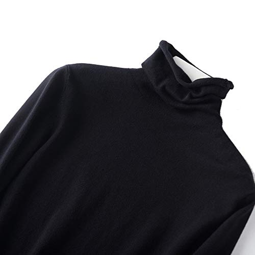 Veromca Huggins Autumn Winter Soft Cashmere Turtleneck Pullovers Sweaters Korean Slim Fit Pull Sweater,Black,XL - Cashmere Deep V-neck Sweater