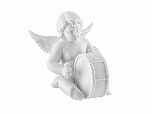 Engel mit Basstrommel aus Biskuit Porzellan weiß matt in Rosenthal Qualität 11 cm im Geschenkkarton. Der Basstrommler