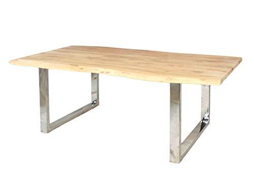 casamia Esstisch Tisch Portland 200/240 x 100/110 cm, Kufengestell Edelstahl -