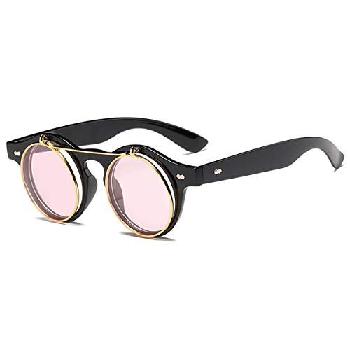 Sonnenbrillen Fashion Round Steampunk Flip Up Sunglasses Men Women Vintage Double Layer Lens Classic Sun Glasses Oculos De Sol UV400 Black Pink