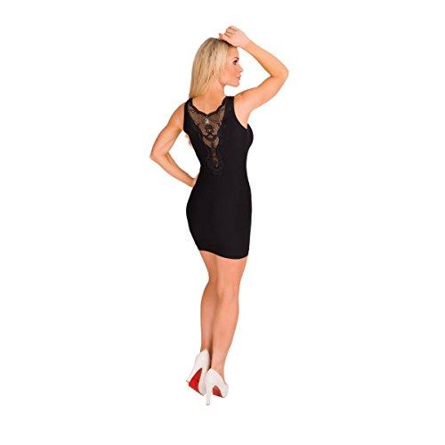 11000 Fashion4Young Damen Long Top Spitze im Rückenteil tailliertes LongTop Stretch-Kleid Schwarz