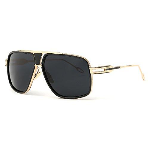 kimorn Gafas De Sol Para Hombres Retro Mirada Sorprendida Metal Marco Clásico AE0336 (Oro&Negro, 62)