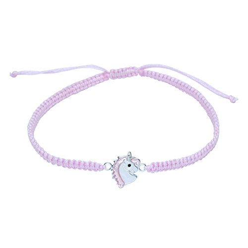 Pulsera de unicornio de plata de ley con cuerda rosa